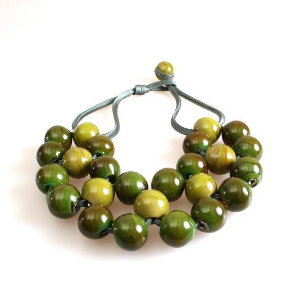 collana vetro murano venezia ninfea verde oliva