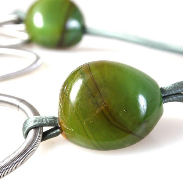 collana vetro murano venezia valeria verde oliva dettaglio