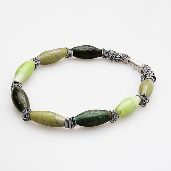 collana vetro murano venezia malcontenta verde oliva