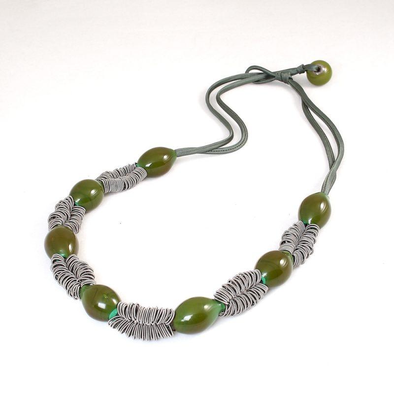 necklace venice murano glass rita dark green